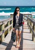 Blue / Black Plaid Sleeveless Top & Tied Waist Shorts Co-Ord Set