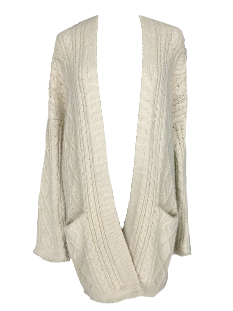 'Maris' Beige Cross Knitted Cardigan