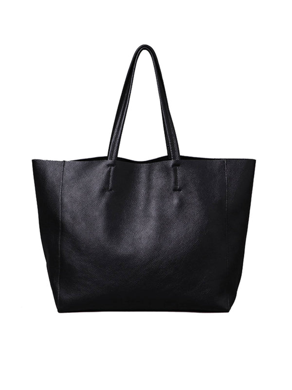 'Lila' Black Leather Tote Bag