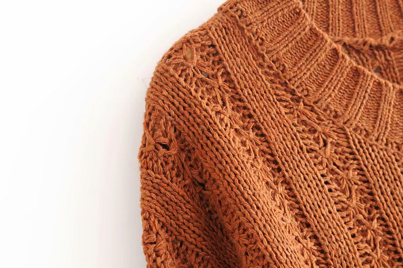 Goodnight Macaroon 'Roxy' Rib-Knitted Crew Neck Sweater Caramel Shoulder