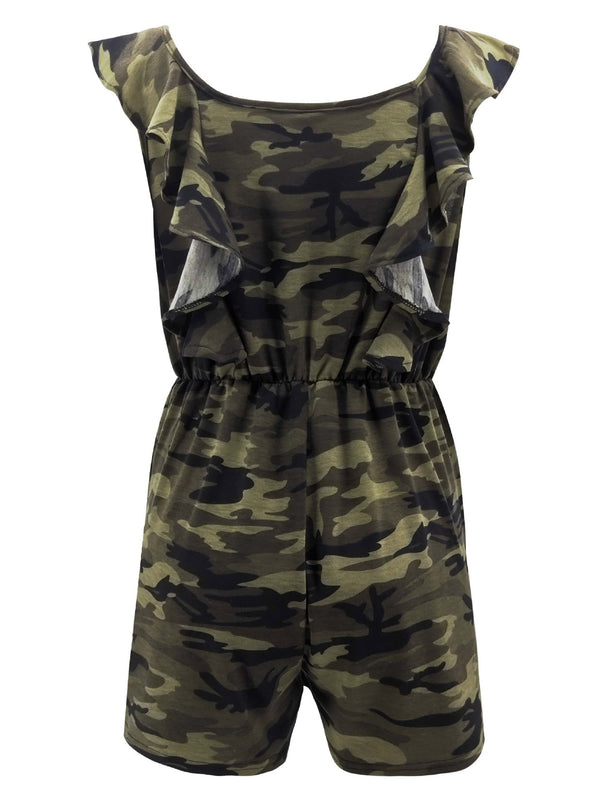 'Queenie' Camouflage Sleeveless Romper