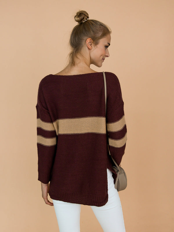 Goodnight Macaroon 'Pamela' Two Tone High-Low V-Neck Sweater Model Back Half Body