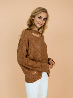 Goodnight Macaroon 'Silvia' Brown Eyelet Choker Neck Knitted Sweater Model Side Half Body