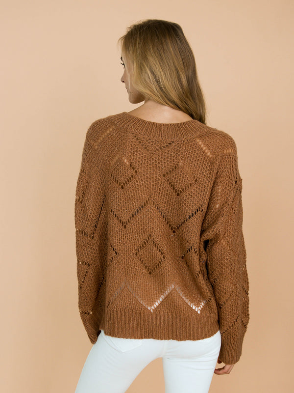 Goodnight Macaroon 'Silvia' Brown Eyelet Choker Neck Knitted Sweater Model Back Half Body
