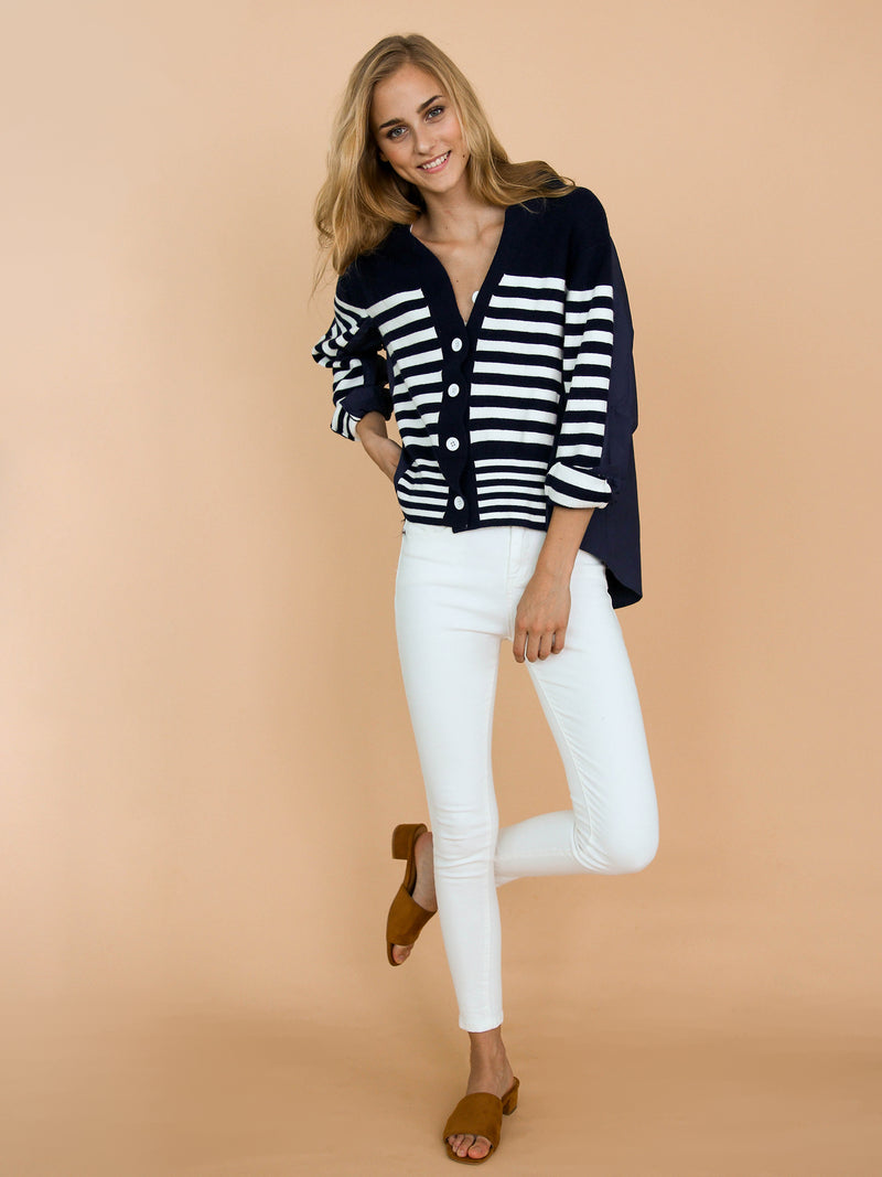 Goodnight Macaroon 'Gianna' Mock Layered Striped Cardigan Model Front Full Body