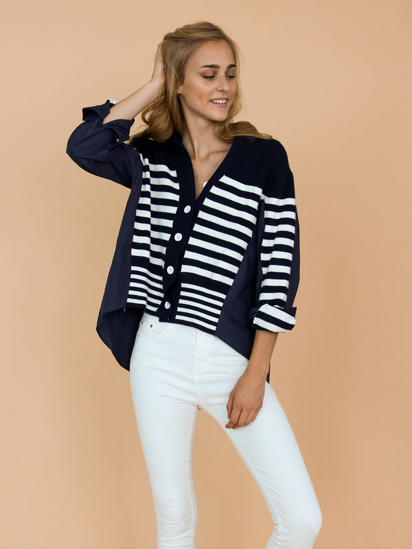 Goodnight Macaroon 'Gianna' Mock Layered Striped Cardigan Model Front Half Body