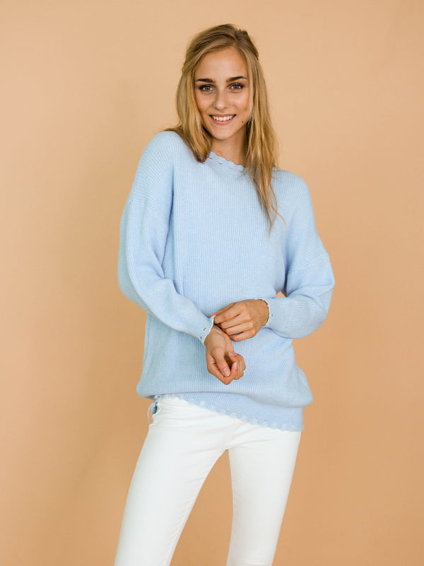 Goodnight Macaroon 'Giana' Baby Blue Ribbed Scalloped Crew Neck Sweater Model Front Half Body