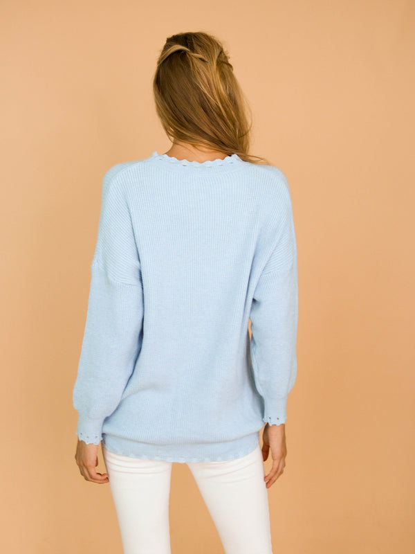 Goodnight Macaroon 'Giana' Baby Blue Ribbed Scalloped Crew Neck Sweater Model Back Half Body