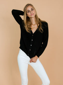 'Nora' Black Distressed Rib-Knitted Button-Up Cardigan Model Front Half Body