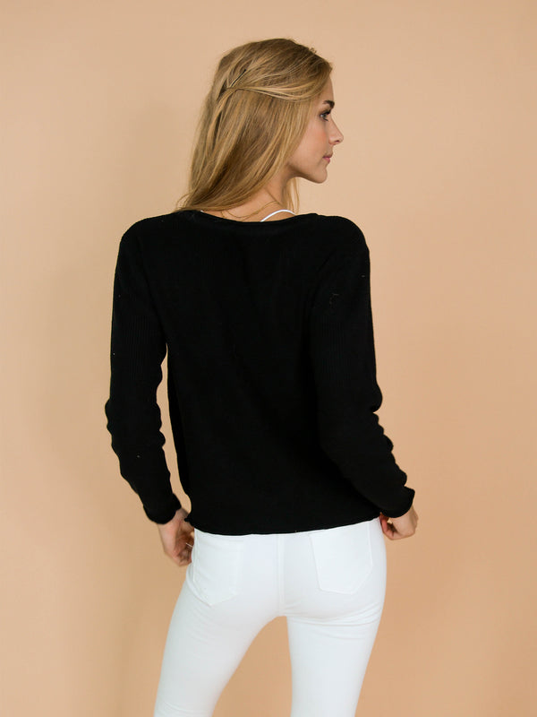 'Nora' Black Distressed Rib-Knitted Button-Up Cardigan Model Back Body
