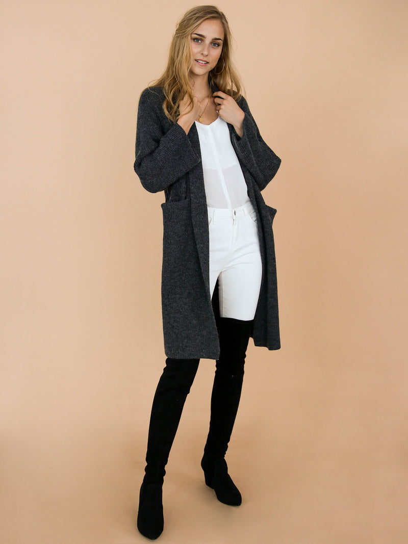 Goodnight Macaroon 'Daphne' Dark Grey Ribbed Belted Open Long Cardigan Model Front Full Body