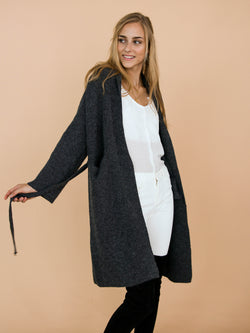 Goodnight Macaroon 'Daphne' Dark Grey Ribbed Belted Open Long Cardigan Model Side Half Body