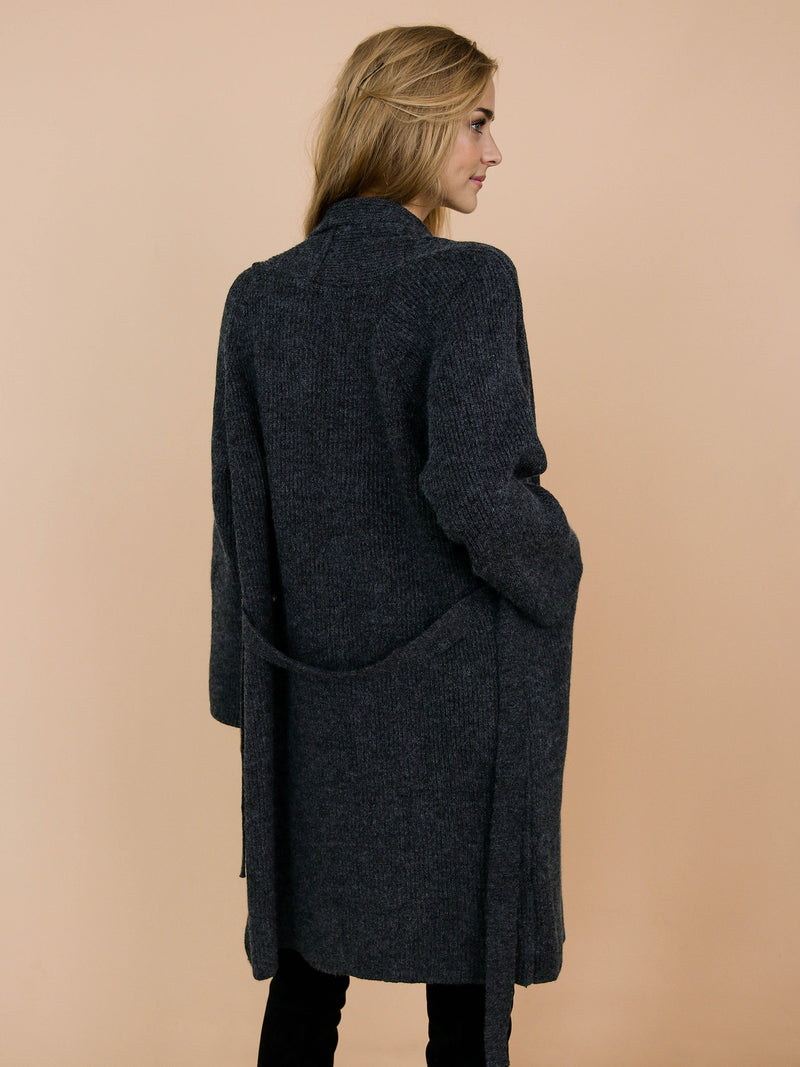 Goodnight Macaroon 'Daphne' Dark Grey Ribbed Belted Open Long Cardigan Model Back Half Body