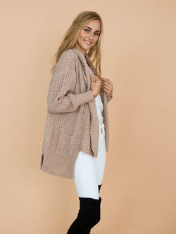 'Barry' Knitted Shawl Collar Draped Cardigan Model Side Half Body