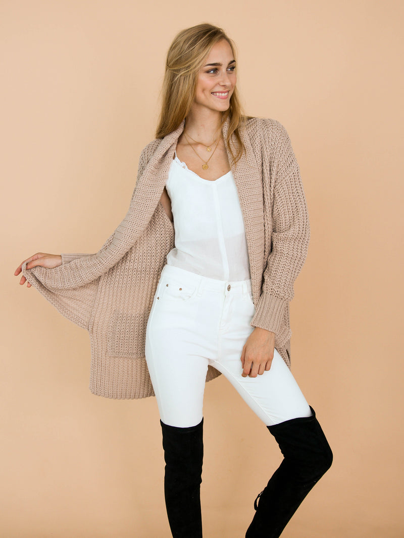 'Barry' Knitted Shawl Collar Draped Cardigan Model Front Half Body