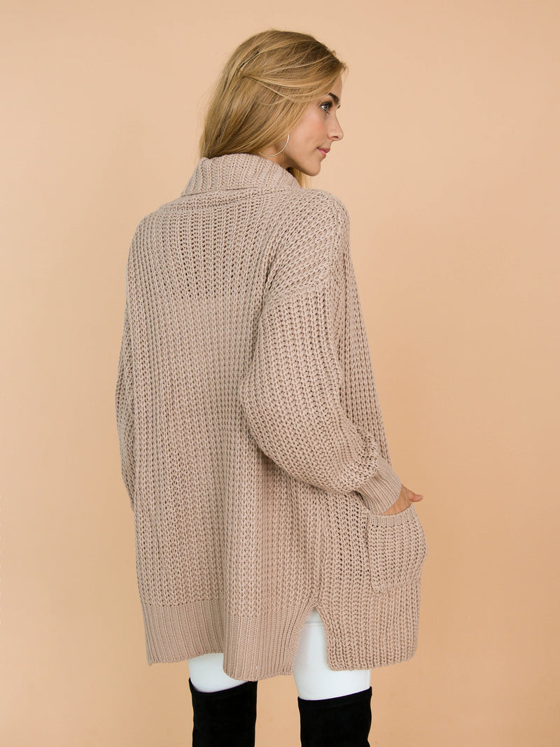 'Barry' Knitted Shawl Collar Draped Cardigan Model Back Half Body
