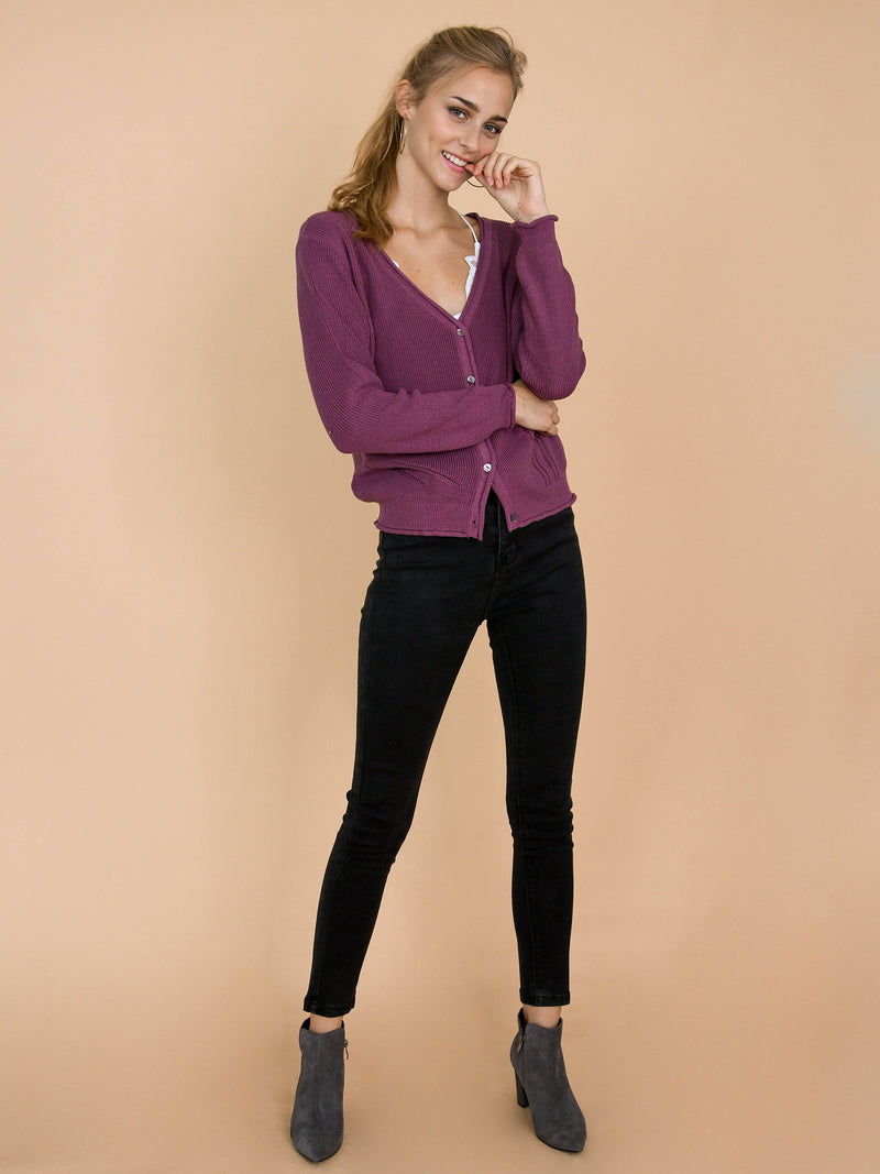 'Nora' Purple Distressed Rib-Knitted Button-Up Cardigan Model Front Full Body