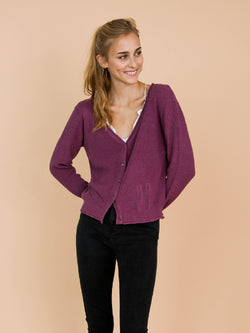'Nora' Purple Distressed Rib-Knitted Button-Up Cardigan Model Front Half Body