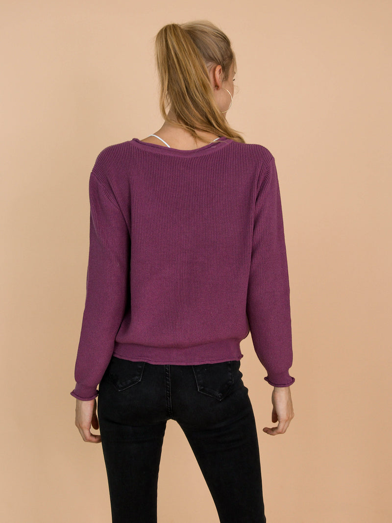 'Nora' Purple Distressed Rib-Knitted Button-Up Cardigan Model Back Half Body