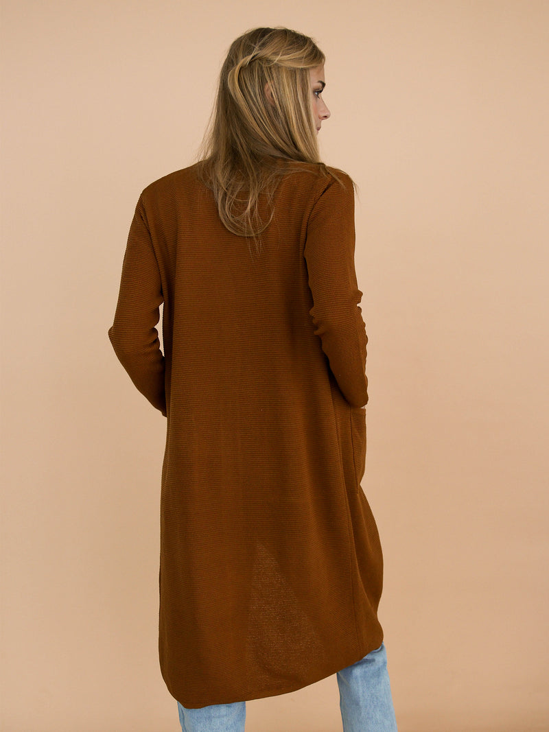 Goodnight Macaroon 'Kylee' Ribbed Long Open Front Cardigan Model Back Half Body