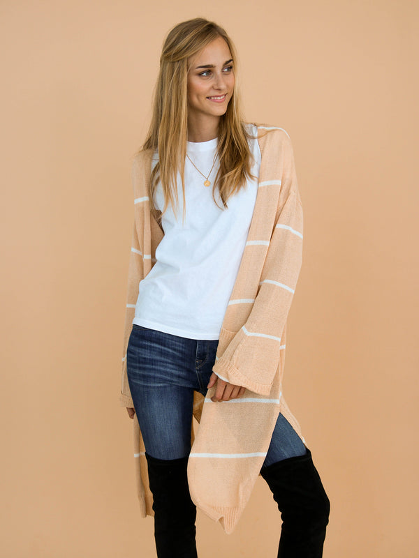 Goodnight Macaroon 'Emersyn' Peach Striped Thin Open Long Cardigan Model Front Half Body