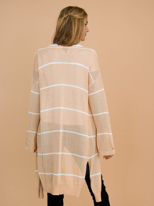 Goodnight Macaroon 'Emersyn' Peach Striped Thin Open Long Cardigan Model Back Half Body
