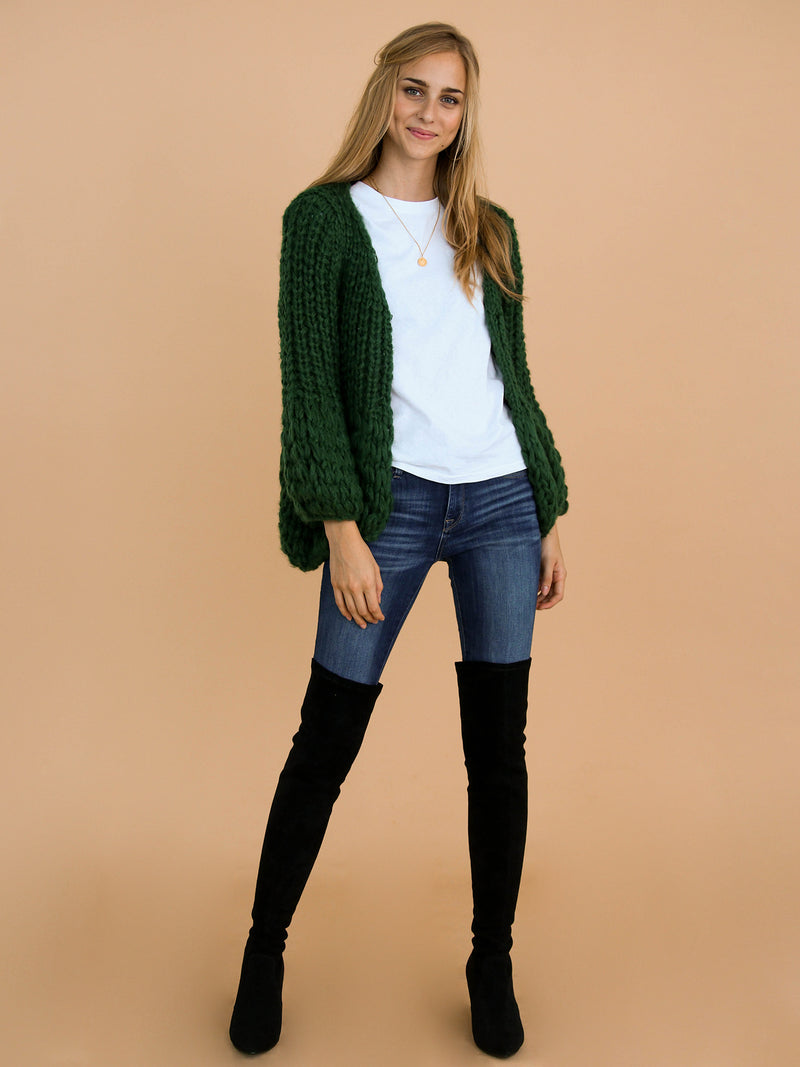 Goodnight Macaroon 'Lillibeth' Green Chunky Knit Open Cardigan Model Front Full Body