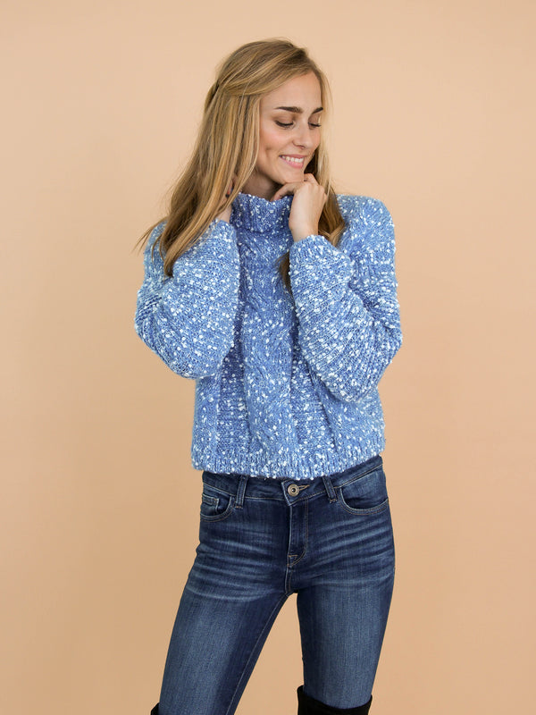 Goodnight Macaroon 'Snowy' Knitted Confetti Braided Turtleneck Sweater Model Front Half Body