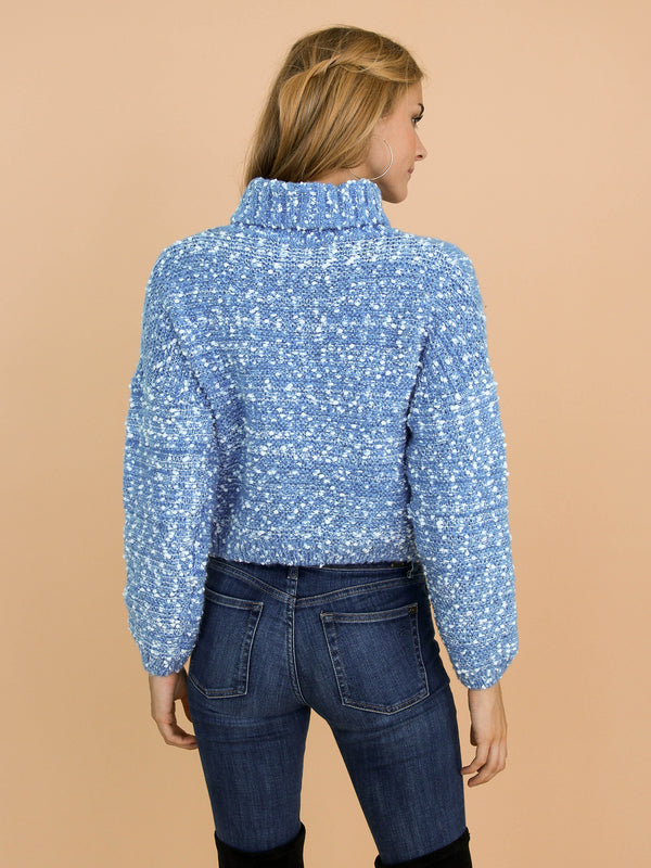 Goodnight Macaroon 'Snowy' Knitted Confetti Braided Turtleneck Sweater Model Back Half Body
