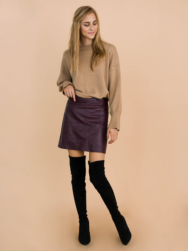'Peyton' Burgundy Faux Leather Mini Skirt Model Front Full Body