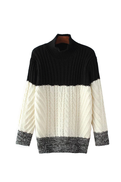 'Cleverly' Contrast Knit Oversized Turtle Neck Sweater from Goodnight Macaroon