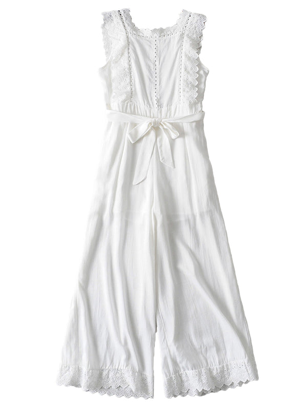 'Juliette' White Cotton Eyelet Waist Tied Open Back Jumpsuit