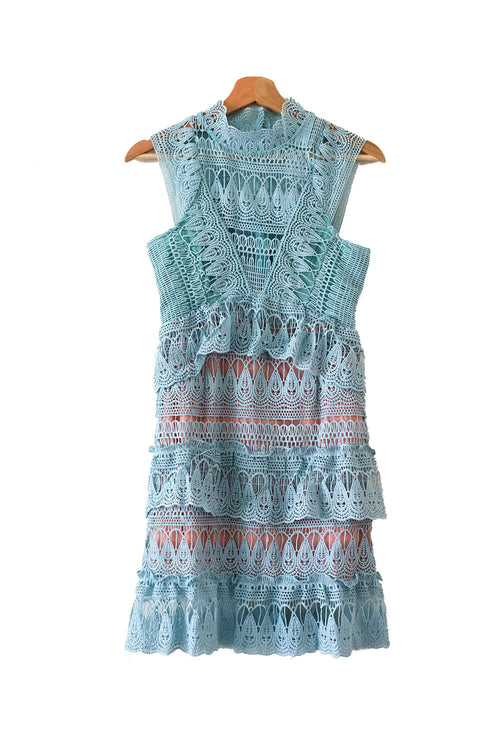 'Jillian' Mint Green Lace Bottle Neck Shift Dress - Goodnight Macaroon