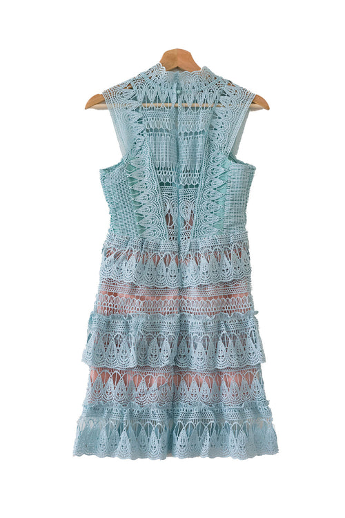 'Jillian' Mint Green Lace Bottle Neck Shift Dress