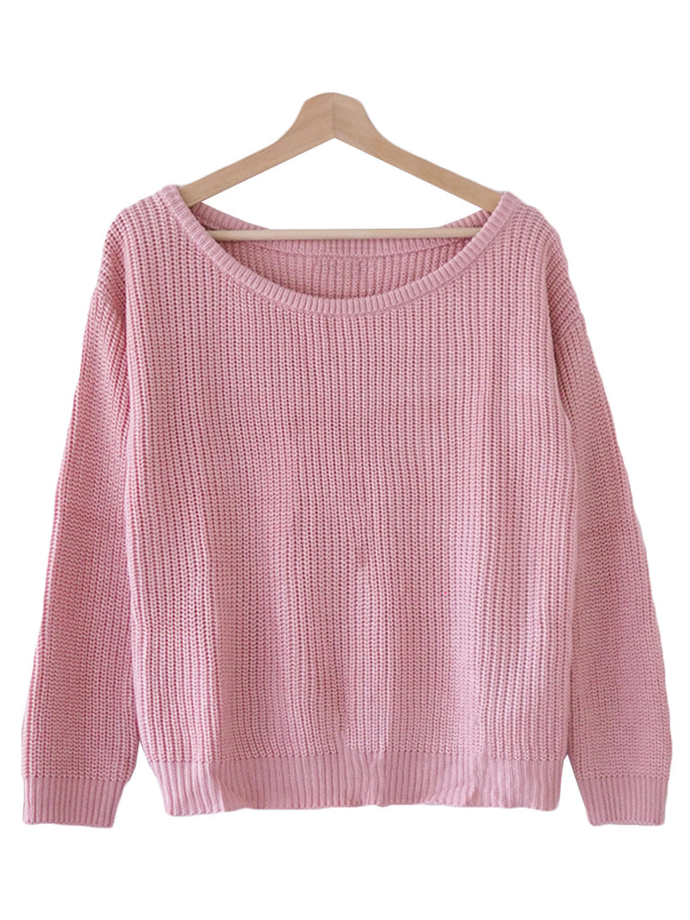 Pink / White Off the Shoulder Oversized Ribbed Sweater