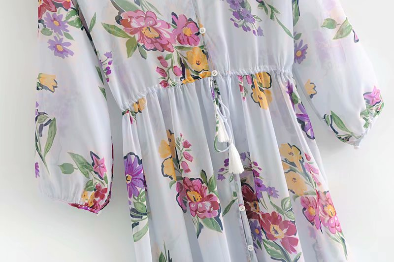 Goodnight Macaroon 'Elise' Floral Print Maxi Dress Waist