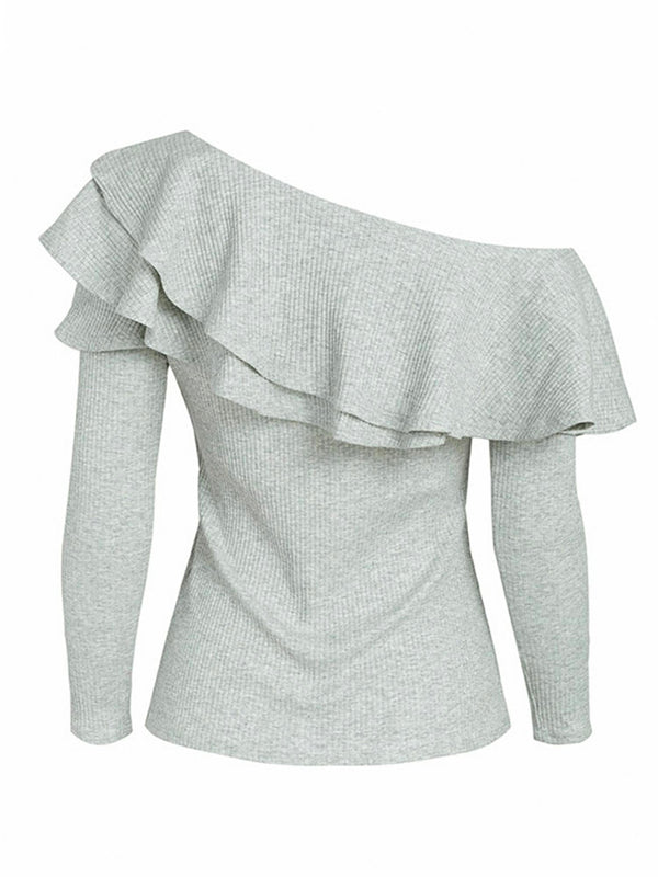 'Gael' Slanted Shoulder Ruffled Top (2 Colors)