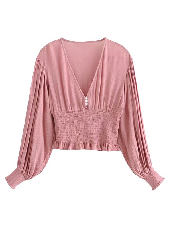 'Tahki' V-neck Ruffled Blouse (2 Colors)