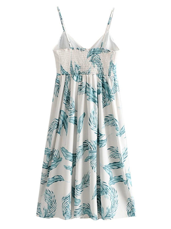 'Gaho' Leaf Print Button Front Midi Dress