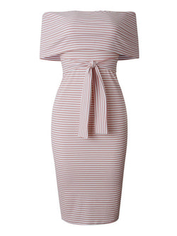 'Hafsah' Striped Off The Shoulder Midi Dress (4 Colors)