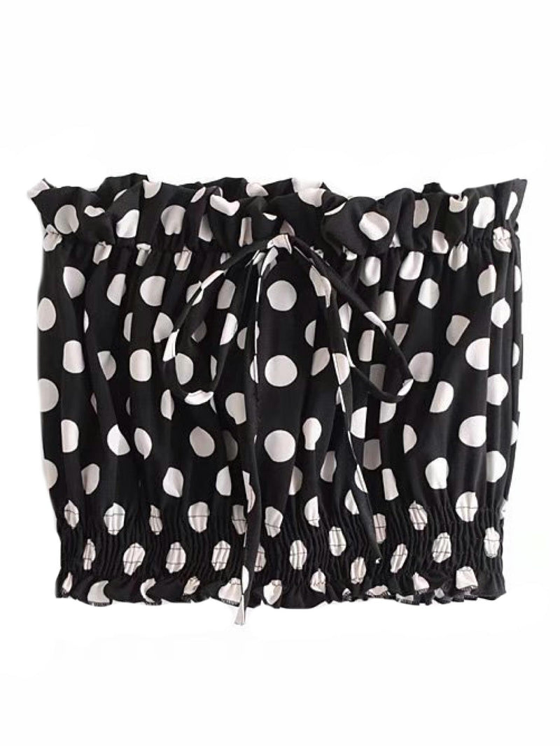 'Eberta' Dotted Drawstring Crop Top (2 Colors)