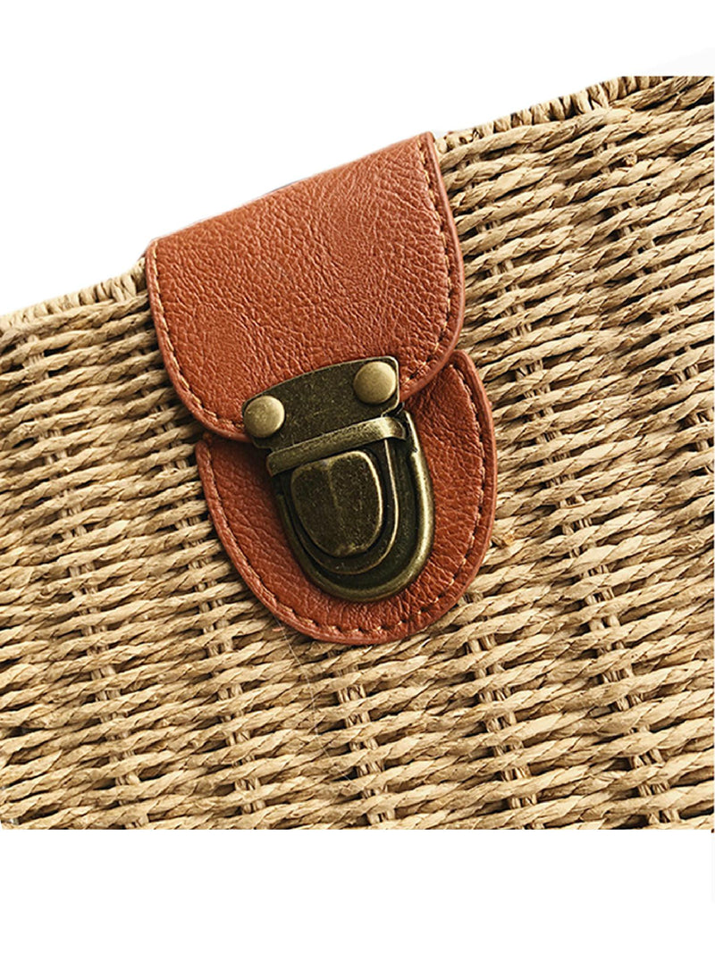 'Gael' Rattan Structured Square Cross Body Bag
