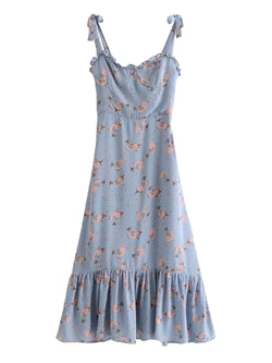 'Wande' Blue Floral Ruffled Midi Dress