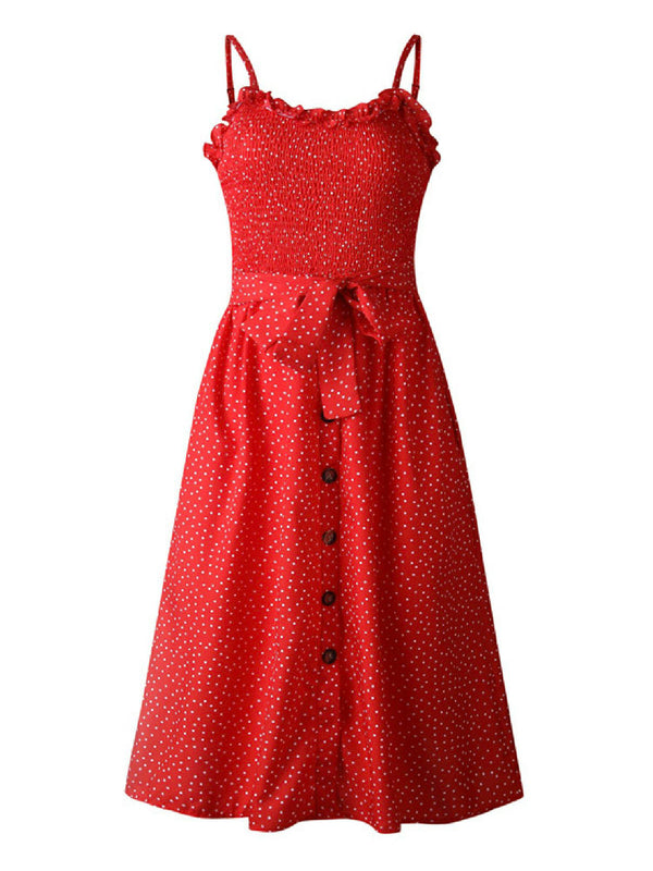 'Eavan' Ruched Dotted Printed Tied Waist Midi Dress (3 Colors)