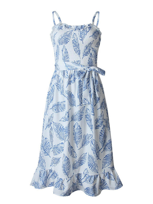 'Ilia' Leaf Print Tied Waist Midi Dress (2 Colors)