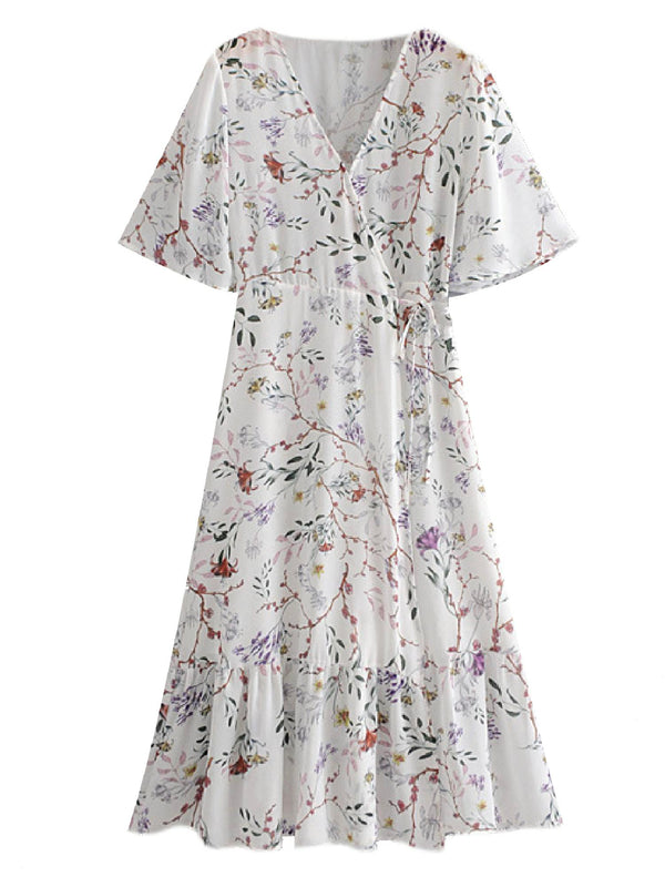 'Daeva' Floral V-neck Tied Waist Midi Dress