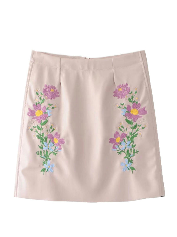 'Rabiah' Floral Embroidered Mini Skirt