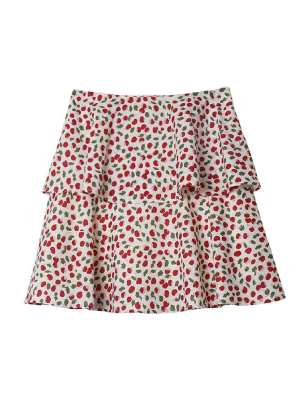 'Cherry' Ruched Floral Mini Skirt