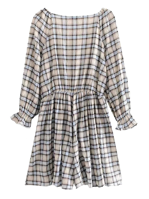 'Hakan' Checked V-neck Romper