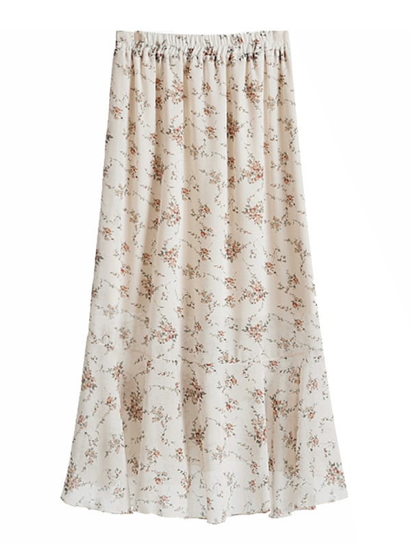 'Amelia' Frill Floral Wrap Skirt (2 Colors)